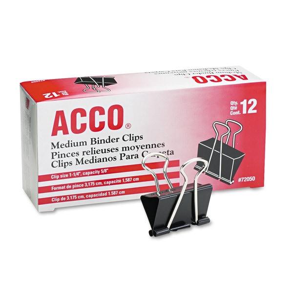 Acco 72050 Medium Binder Clips, Steel