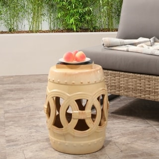 Safavieh Paradise Double Coin White Ceramic Garden Stool