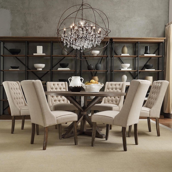 Dining Room Sets Round: TRIBECCA HOME Benchwright Rustic X-base Round Pine Wood