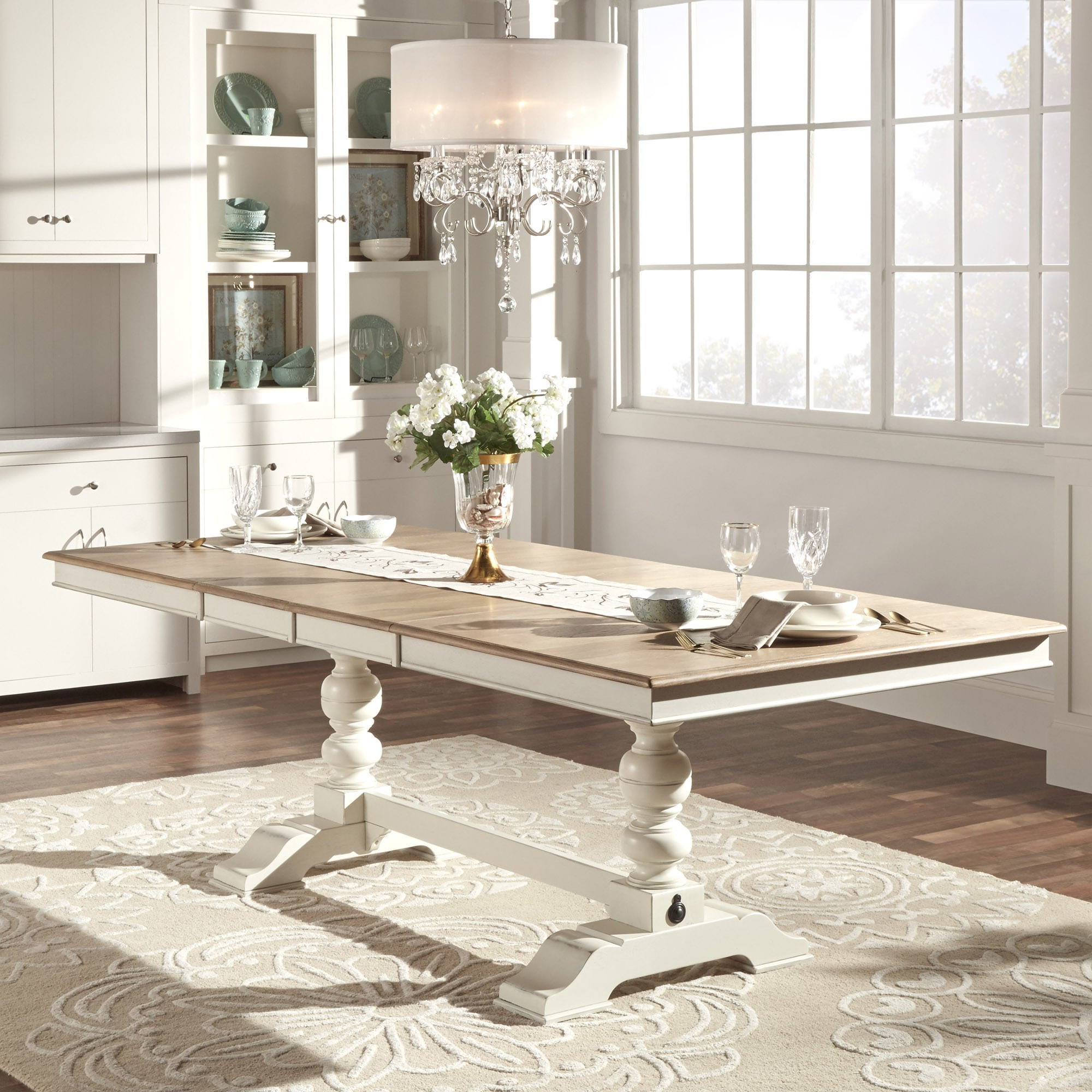 Country Dining Table With Bench: TRIBECCA HOME McKay Country Antique White Pedestal