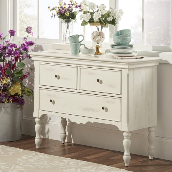 TRIBECCA HOME McKay Country Antique White Buffet Storage