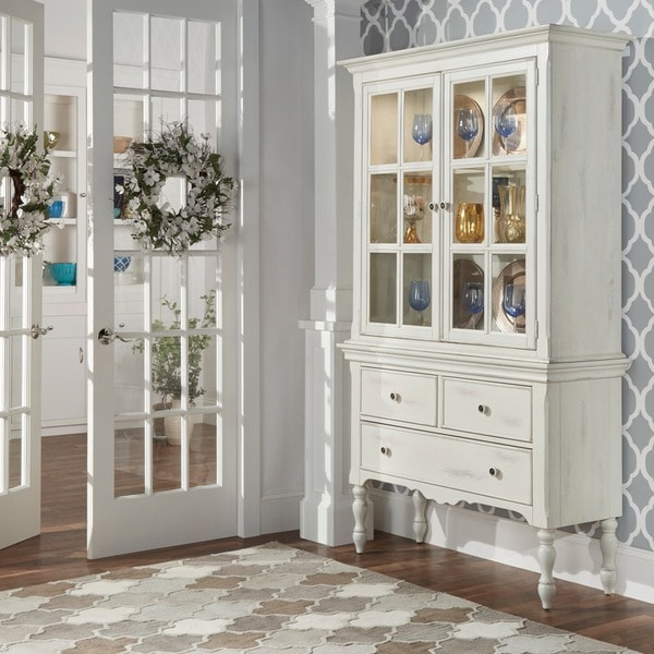 Tribecca Home Mckay Country Antique White Display Buffet