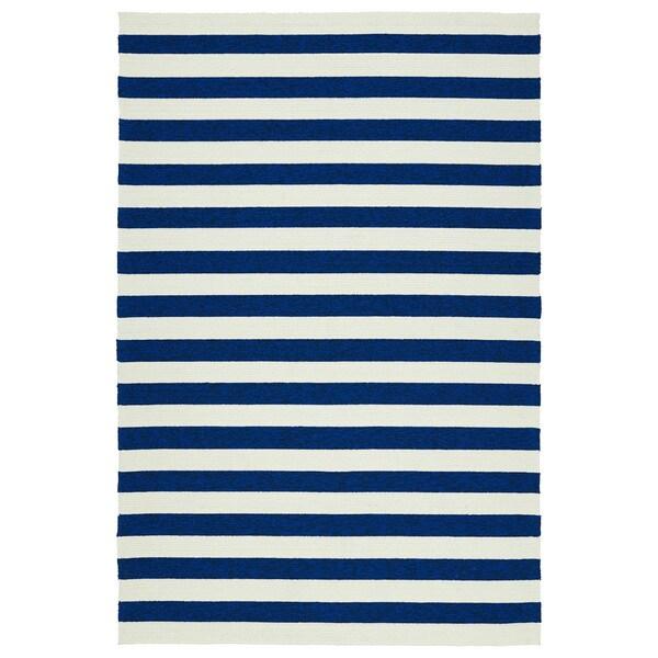 Handmade Indoor Outdoor Getaway Navy Stripes Rug 8 X 10
