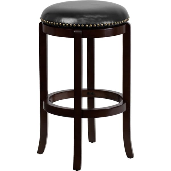 Backless 29 Inch Wood Bar Stool With Leather Swivel Seat