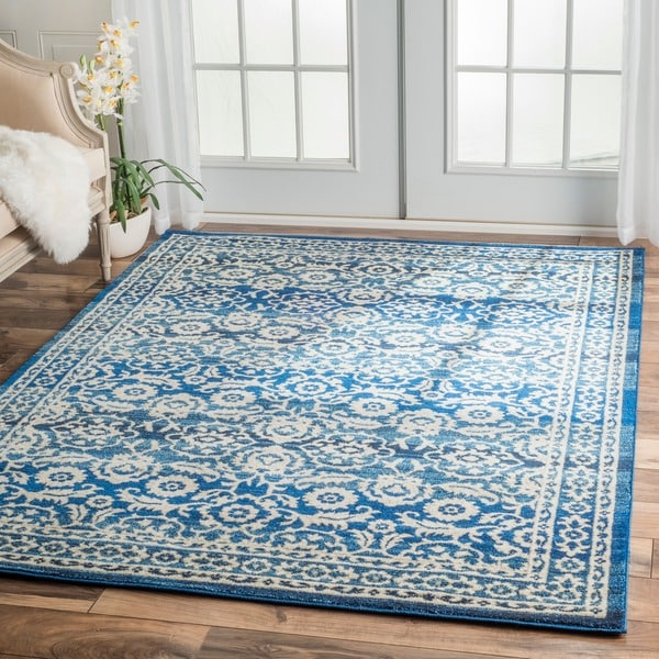 Nuloom Traditional Persian Vintage Dark Blue Rug 9 X 12