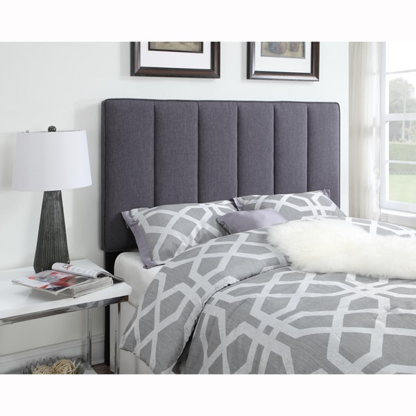 Dark Grey Queen Full Size Upholstered Panel Headboard