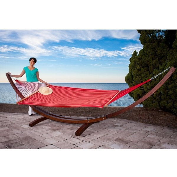 Garden Hammock Stand: Prime Garden Sunbrella Fabric Hammock With 14-Foot Wood