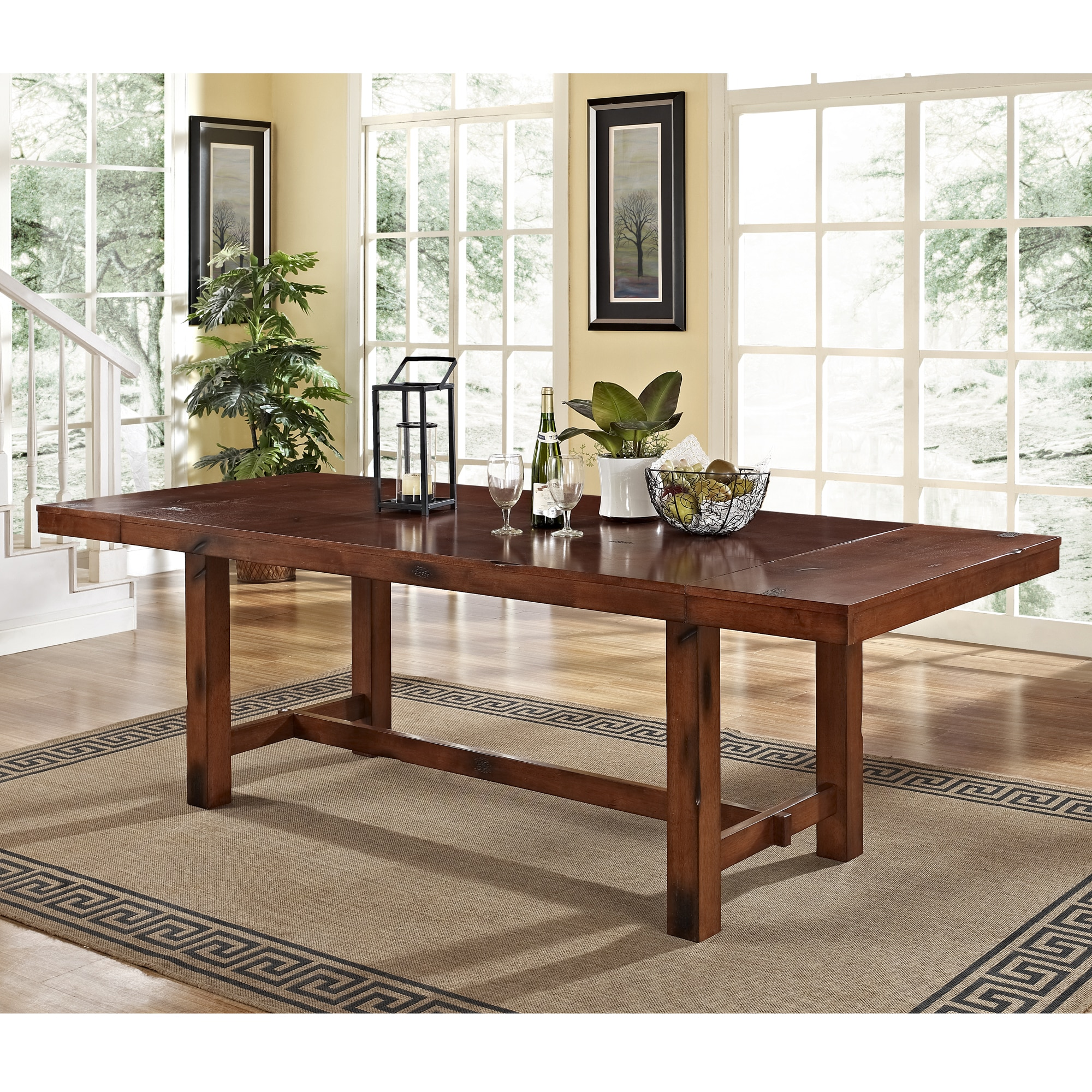 Distressed Dark Oak Wood Dining Table