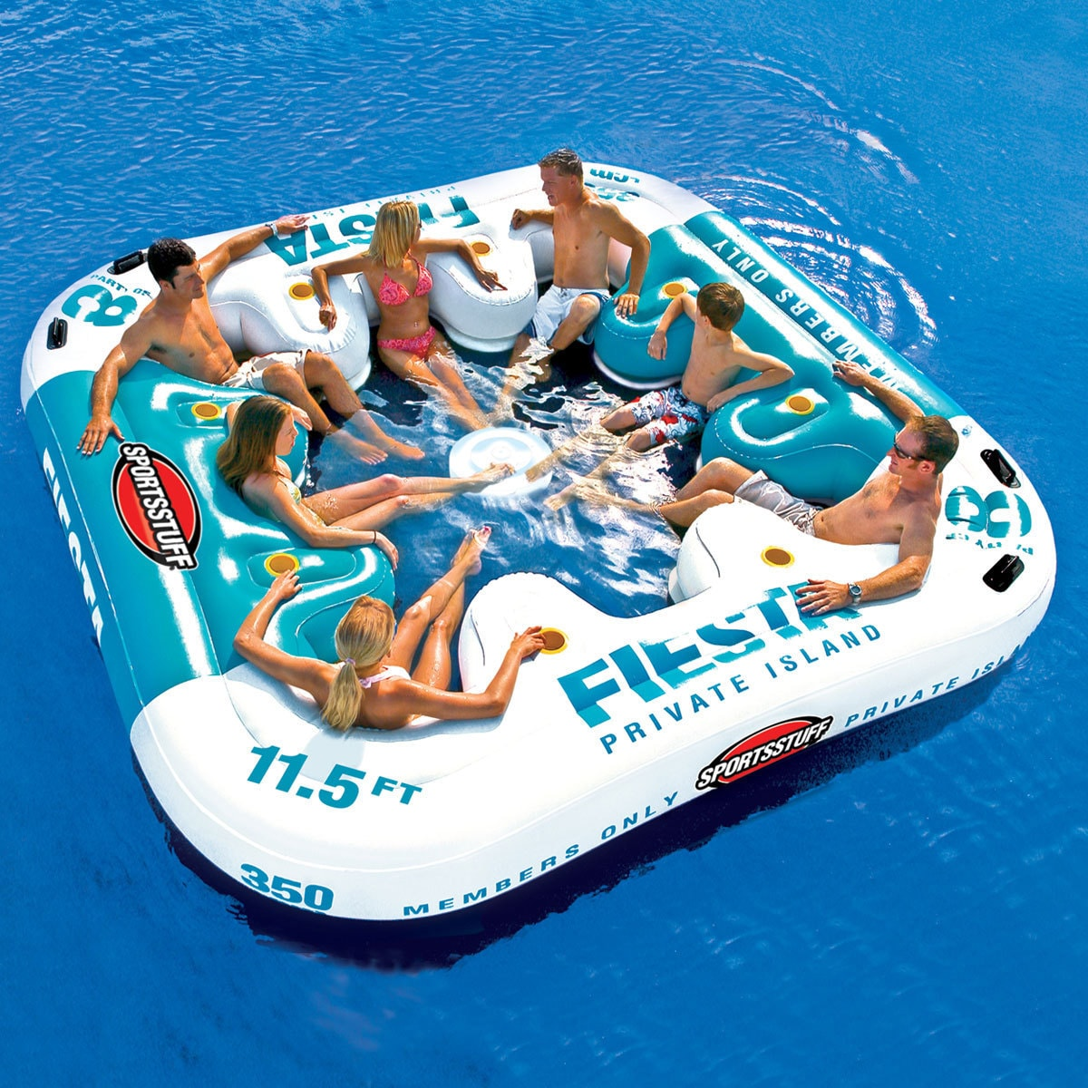 Party Island Beach: Inflatable Raft Party Boat Lake River 8 Person Lounger