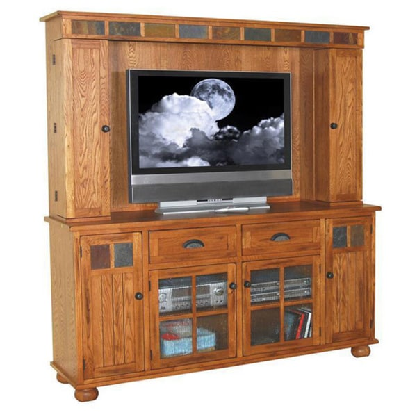 Sunny Designs Sedona Rustic Oak Media Hutch And Tv Console