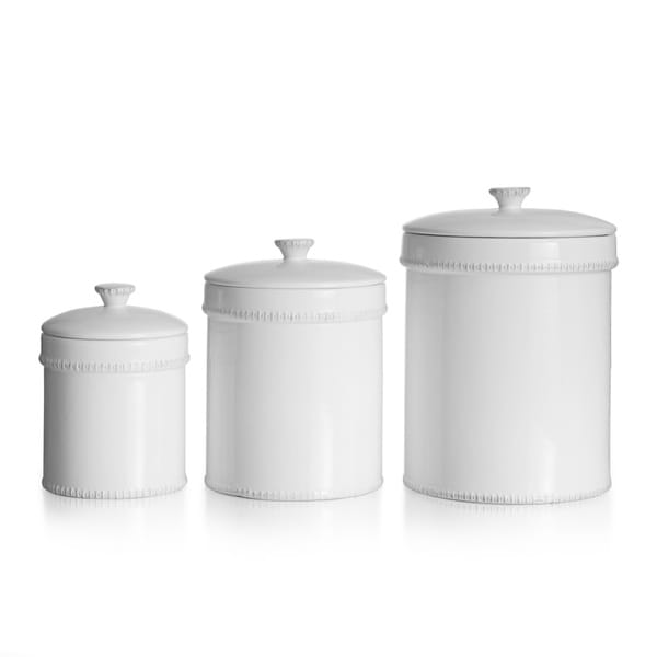 Square Kitchen Canisters White