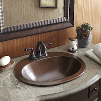 "Sinkology Seville Drop-In Copper Bath Sink with 4"" Faucet Holes"