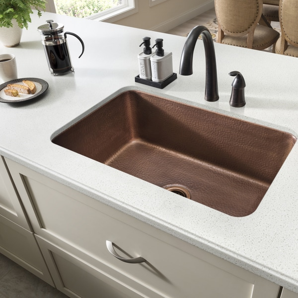 unique design of copper undermount sink kitchen   Sinkology O'Keefe Undermount Handmade Pure Solid Copper 30 ...