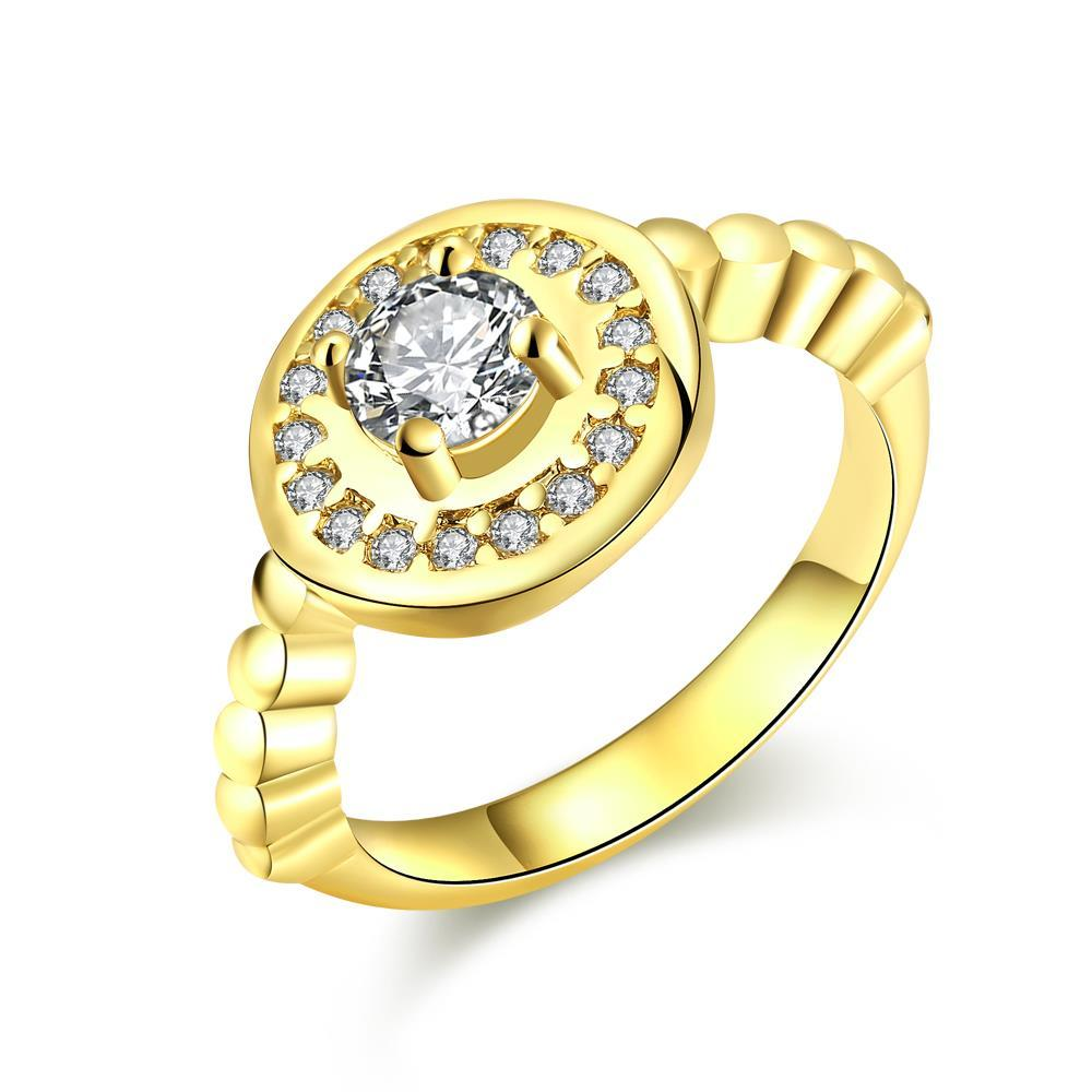 Vienna Jewelry Gold Plated Circular Abstract Crystal Ring