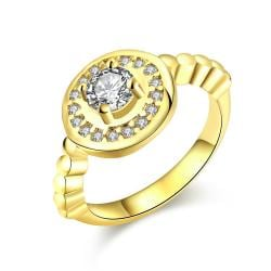 Vienna Jewelry Gold Plated Circular Abstract Crystal Ring - Thumbnail 0