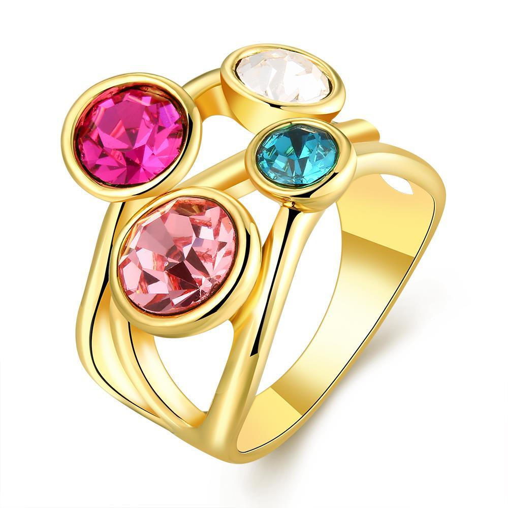 Vienna Jewelry Gold Plated Quad-Rainbow Crystal Jewels Ring Size 7