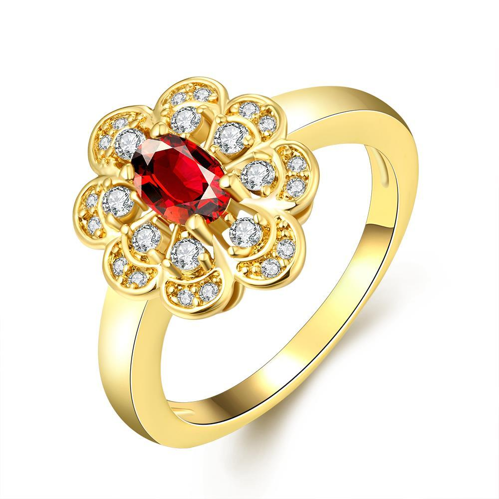 Vienna Jewelry Gold Plated Clover Design with Petite Gem Ring