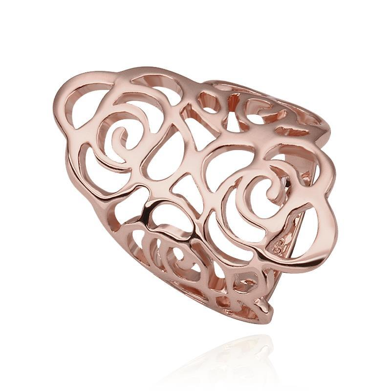 Vienna Jewelry Rose Gold Plated Laser Cut Swirl Abstract Ring Size 8