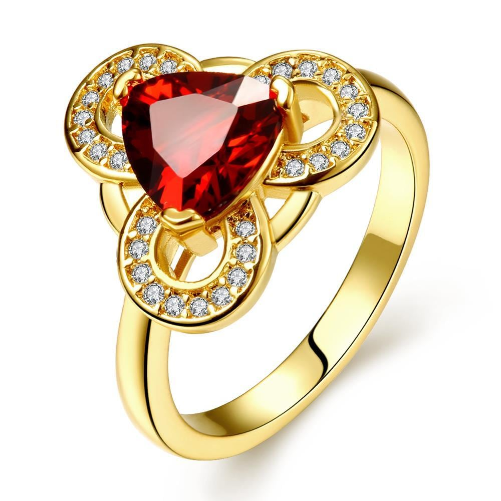 Vienna Jewelry Gold Plated Triangular Ruby Sized Ring Size 7