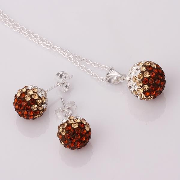 Vienna Jewelry Austrian Crystal Element Multi-Pave Earring Studs and Necklace Set-Chocolate Flavor
