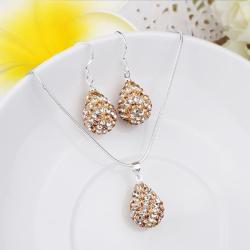 Vienna Jewelry Austrian Crystal Element Multi-Pave Pear Earring and Necklace Set-Cappuccino - Thumbnail 0