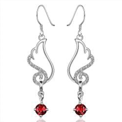 Vienna Jewelry Sterling Silver Butterfly Ruby Wings Drop Earring - Thumbnail 0