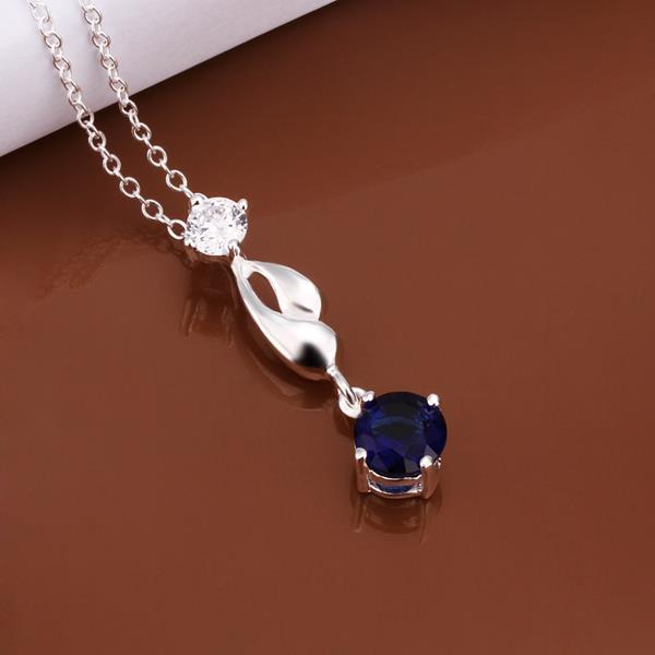 Vienna Jewelry Sterling Silver Petite Mock Sapphire Gem Curved Dangling Necklace