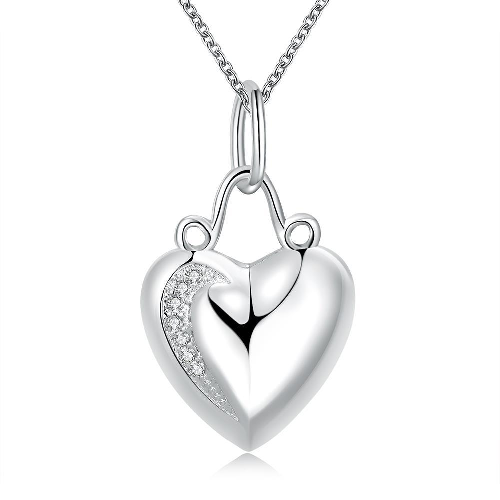 Vienna Jewelry Sterling Silver Heart Drop Necklace