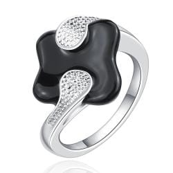 Vienna Jewelry Sterling Silver Onyx Plating Jewels Covering Curved Petite Ring Size: 8 - Thumbnail 0