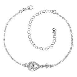 Vienna Jewelry Crystal Stone Diamond Shaped Petite Anklet - Thumbnail 0