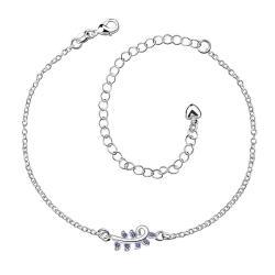 Vienna Jewelry Mock Sapphire Zig Zag Petite Anklet - Thumbnail 0