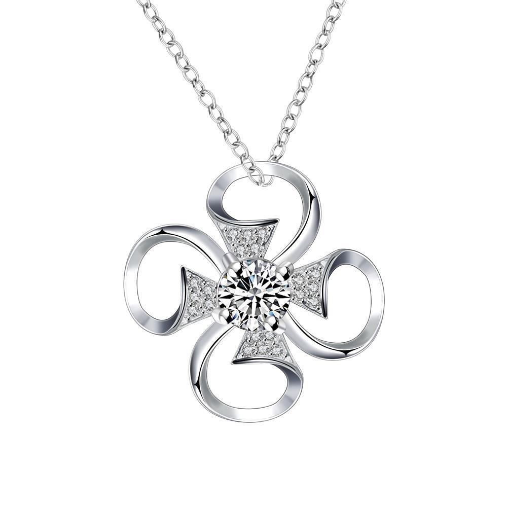 Vienna Jewelry Petite Crystal Stone Hollow Clover Drop Necklace