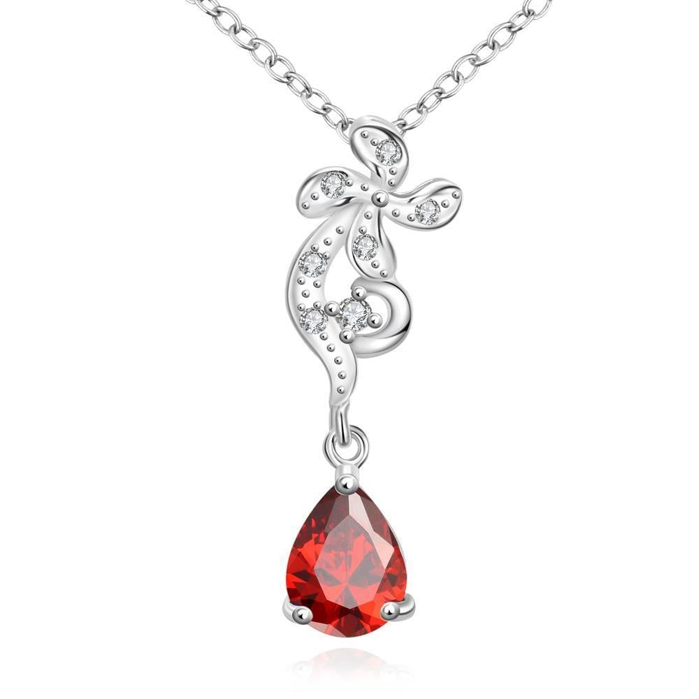 Vienna Jewelry Petite Ruby Red Gem Clover Stud Drop Necklace