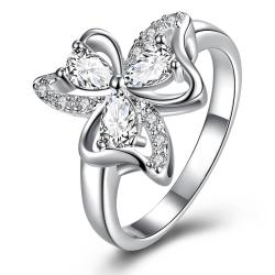 Trio-Classic Crystal Clover Petals Classic Ring Size 7 - Thumbnail 0