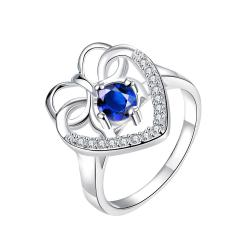 Curved Classic Mock Sapphire Love Ring Size 7 - Thumbnail 0