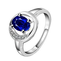 Mock Sapphire Spiral Design Petite Ring Size 7 - Thumbnail 0