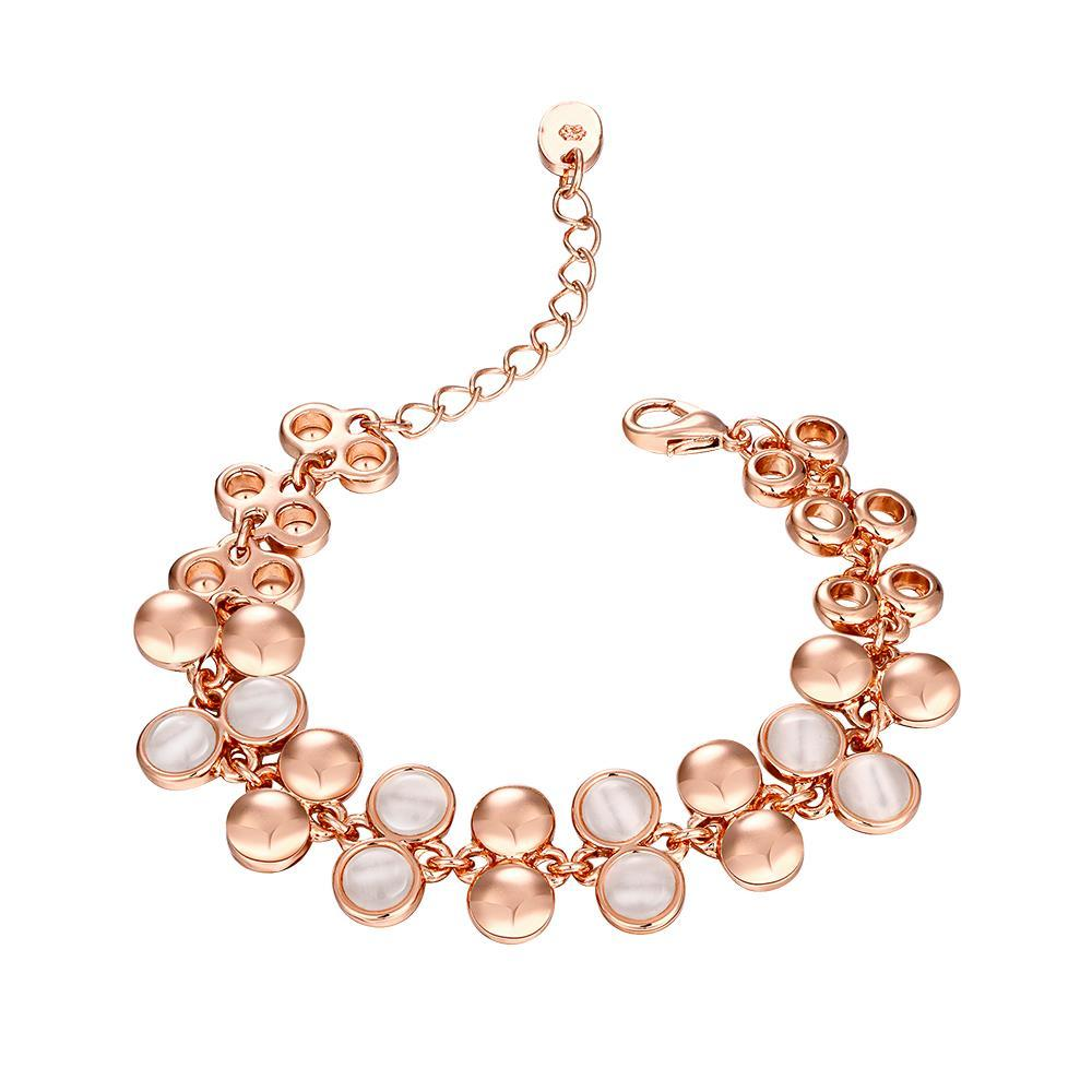 Vienna Jewelry 18K Rose Gold Natural Gemstone Emblems Bracelet with Austrian Crystal Elements