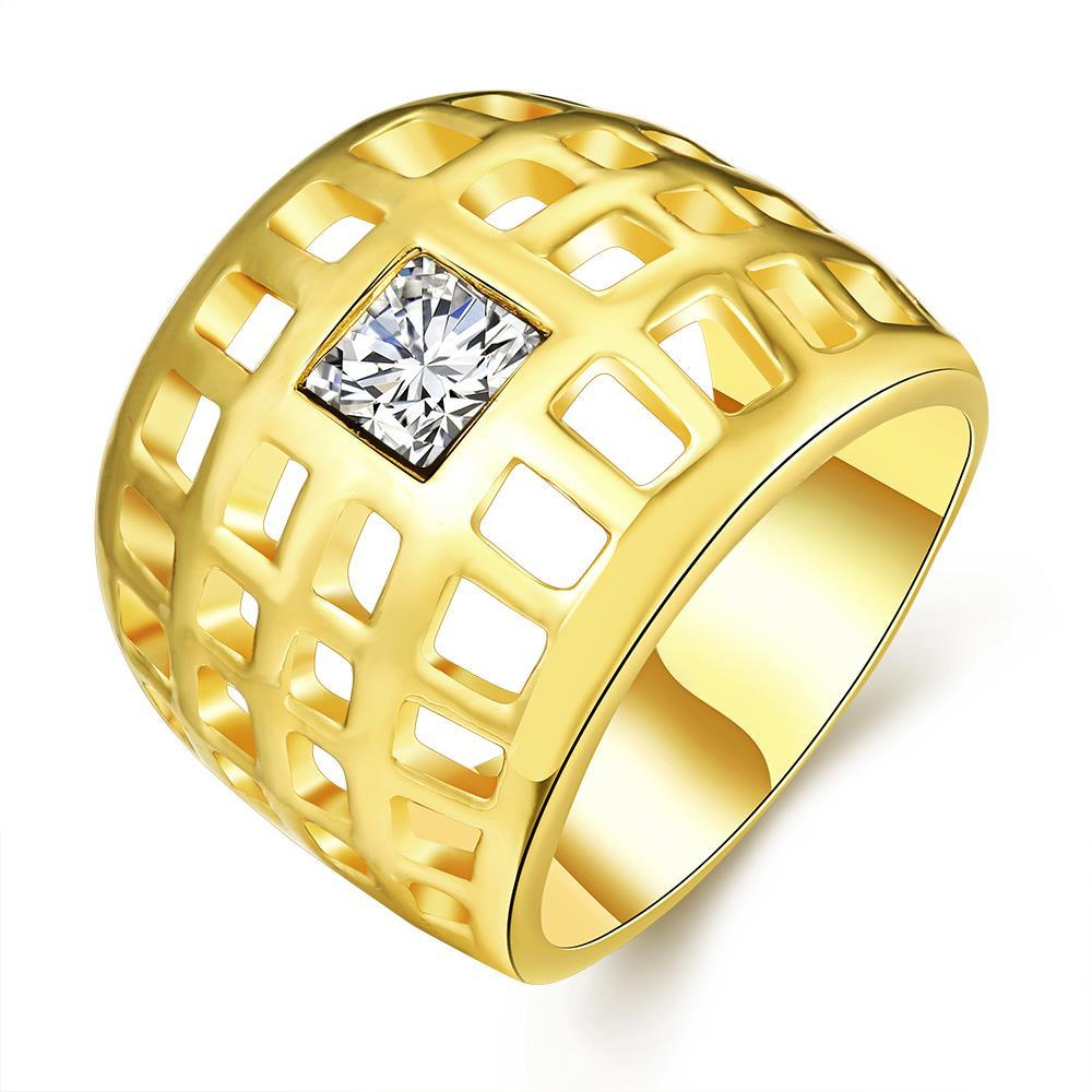Vienna Jewelry Gold Plated Laser Cut Grid Geo Ring Size 7