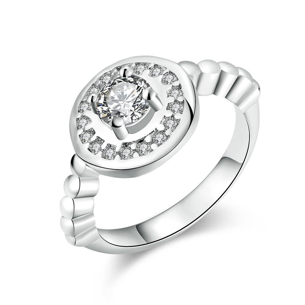 Vienna Jewelry White Gold Plated Circular Abstract Crystal Ring