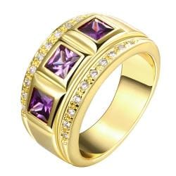 Vienna Jewelry Gold Plated Trio-Gem Accents Ring - Thumbnail 0