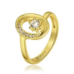 Vienna Jewelry Gold Plated Petite Circular Emblem with Crystal Jewel Ring Size 8 - Thumbnail 0