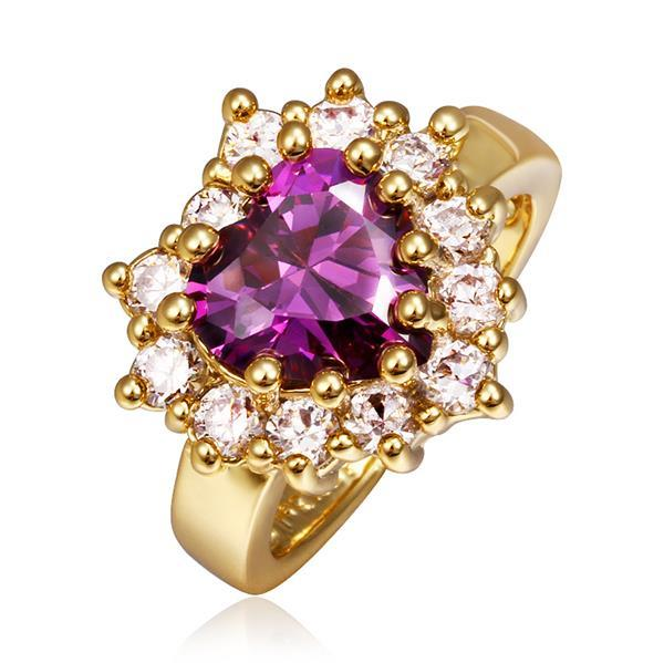 Vienna Jewelry Gold Plated Purple Citrine with Crystal Covering Ring Size 8