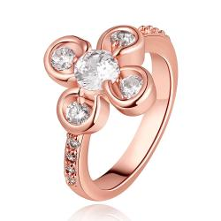 Vienna Jewelry Rose Gold Plated Quad-Clover Jewel Ring Size 8 - Thumbnail 0