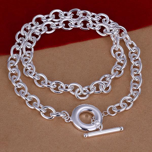 Vienna Jewelry Sterling Silver Clasp Closure Interlock Necklace
