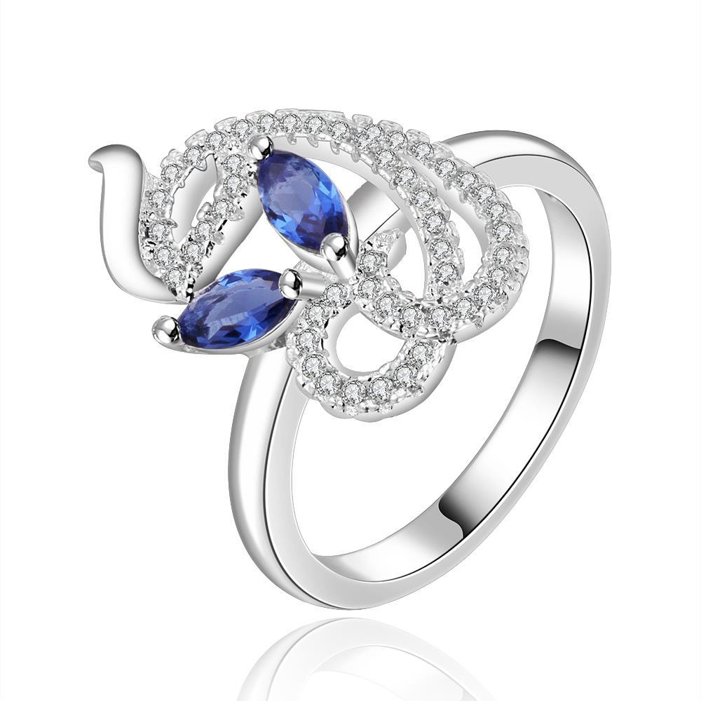 Vienna Jewelry Sterling Silver Swirl Abstract Mock Sapphire Petite Ring Size: 8