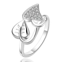 Vienna Jewelry Sterling Silver Duo-Leaf Set Ring Size: 7 - Thumbnail 0