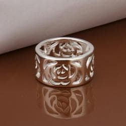 Vienna Jewelry Sterling Silver Laser Cut Floral Inprint Band Size: 8 - Thumbnail 0