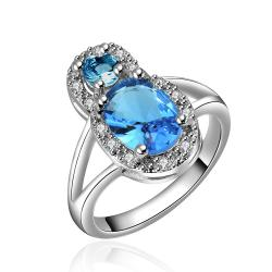 Mock Sapphire Gem Jewels Covering Modern Ring Size 8 - Thumbnail 0