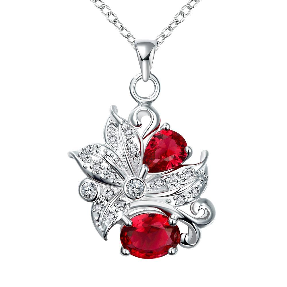 Vienna Jewelry Duo-Ruby Red Gem Floral Pendant Necklace