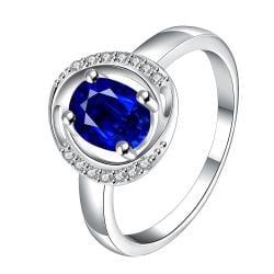 Mock Sapphire Circular Jewels Lining Ring Size 8 - Thumbnail 0